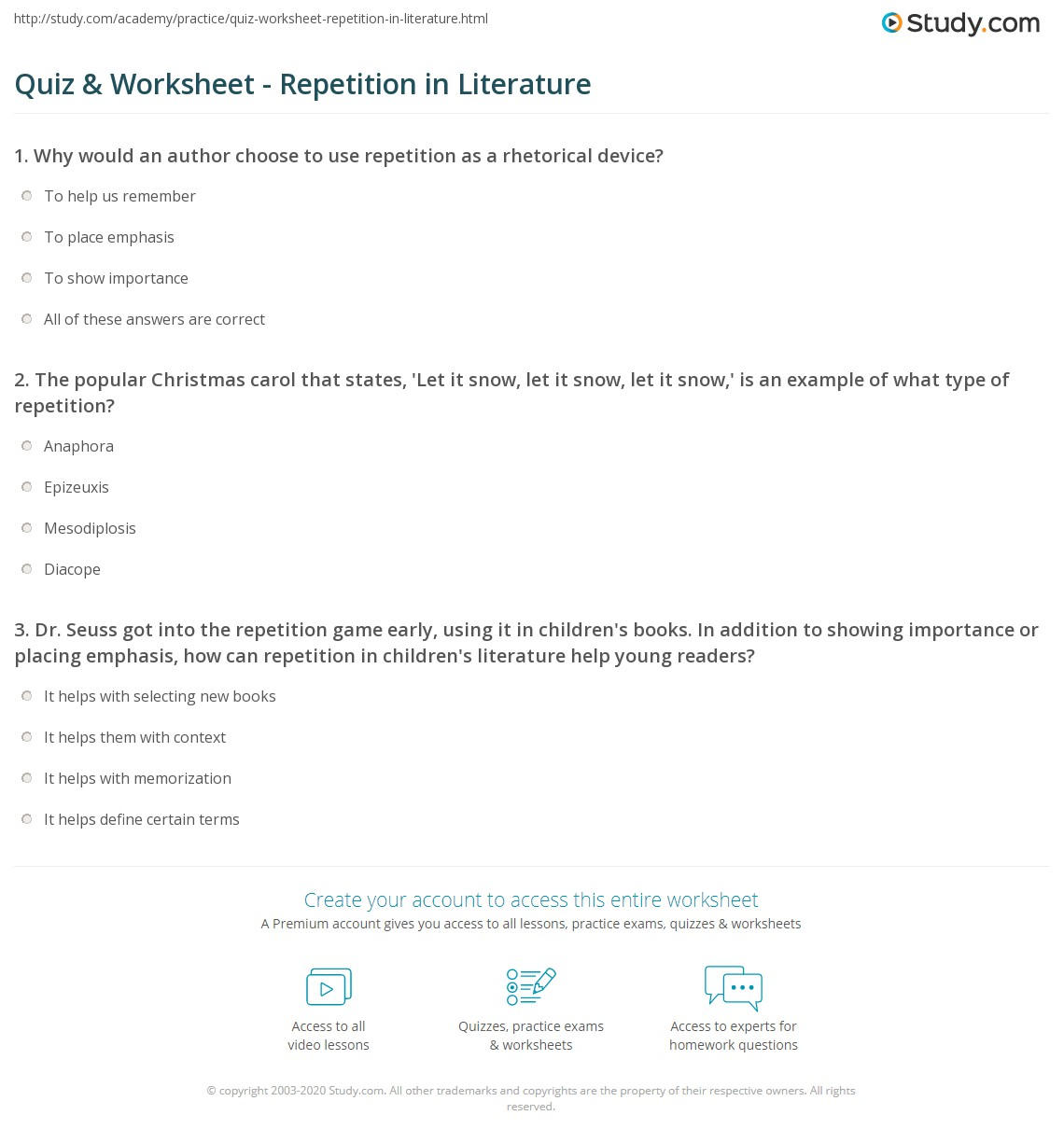 Anaphora Worksheet