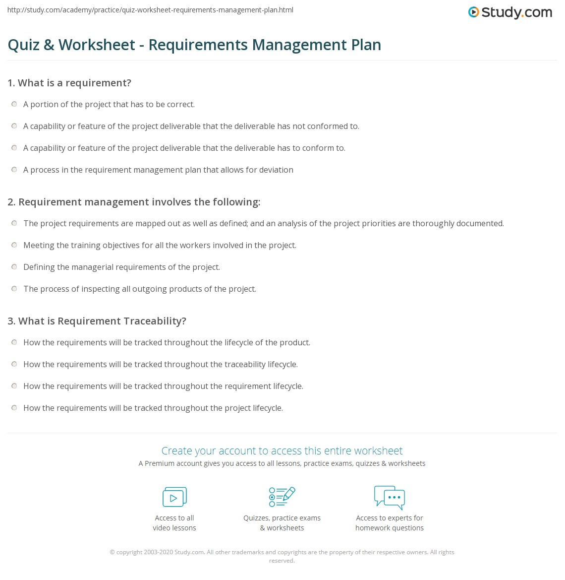 Requirements Worksheet Template
