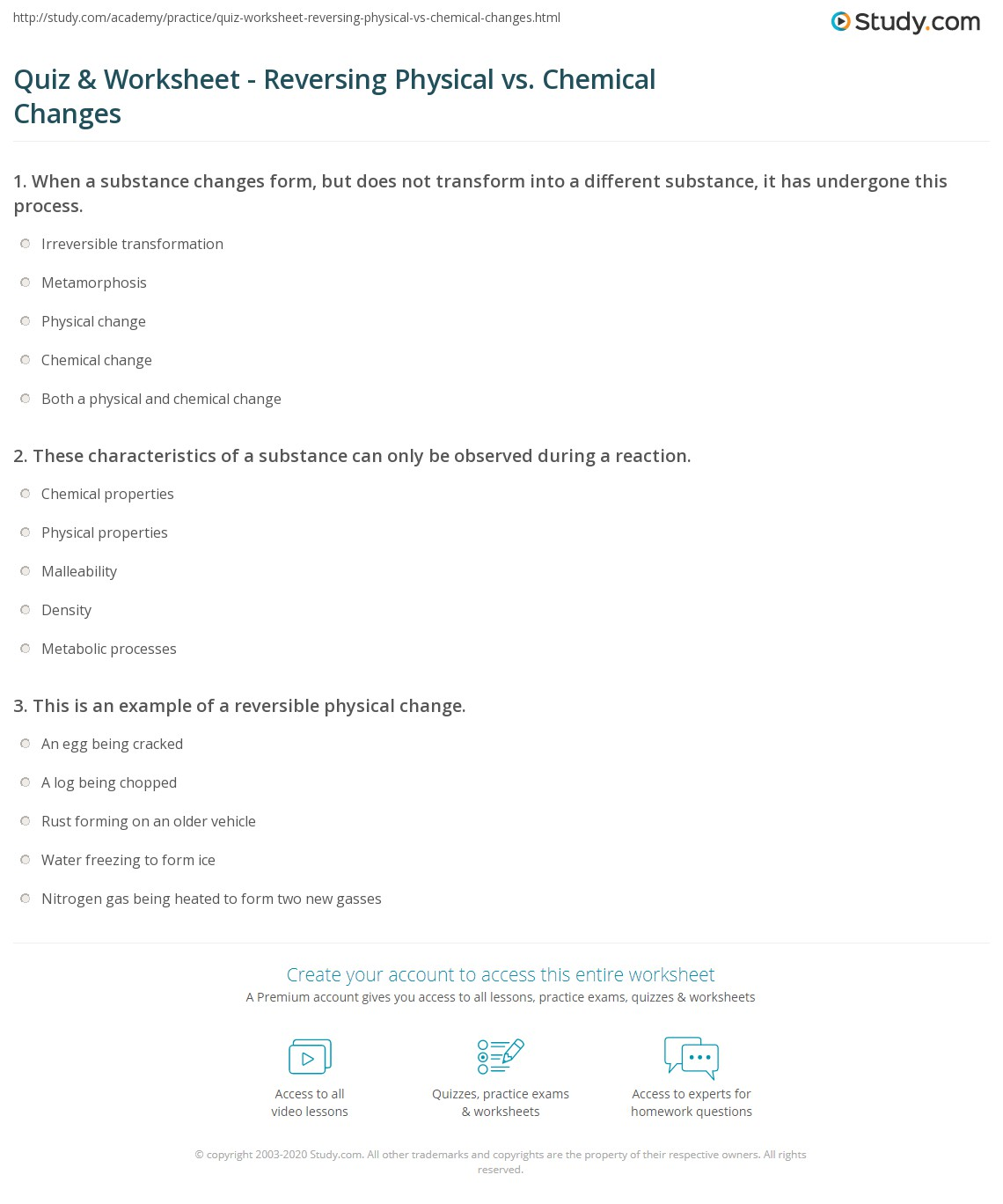 Physical Chemical Changes Worksheets