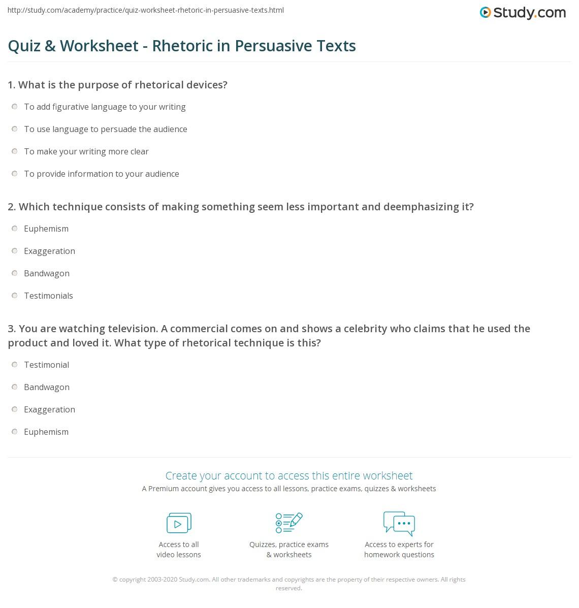 Quiz W Ksheet Rhet Ic Persu Sive Texts Study