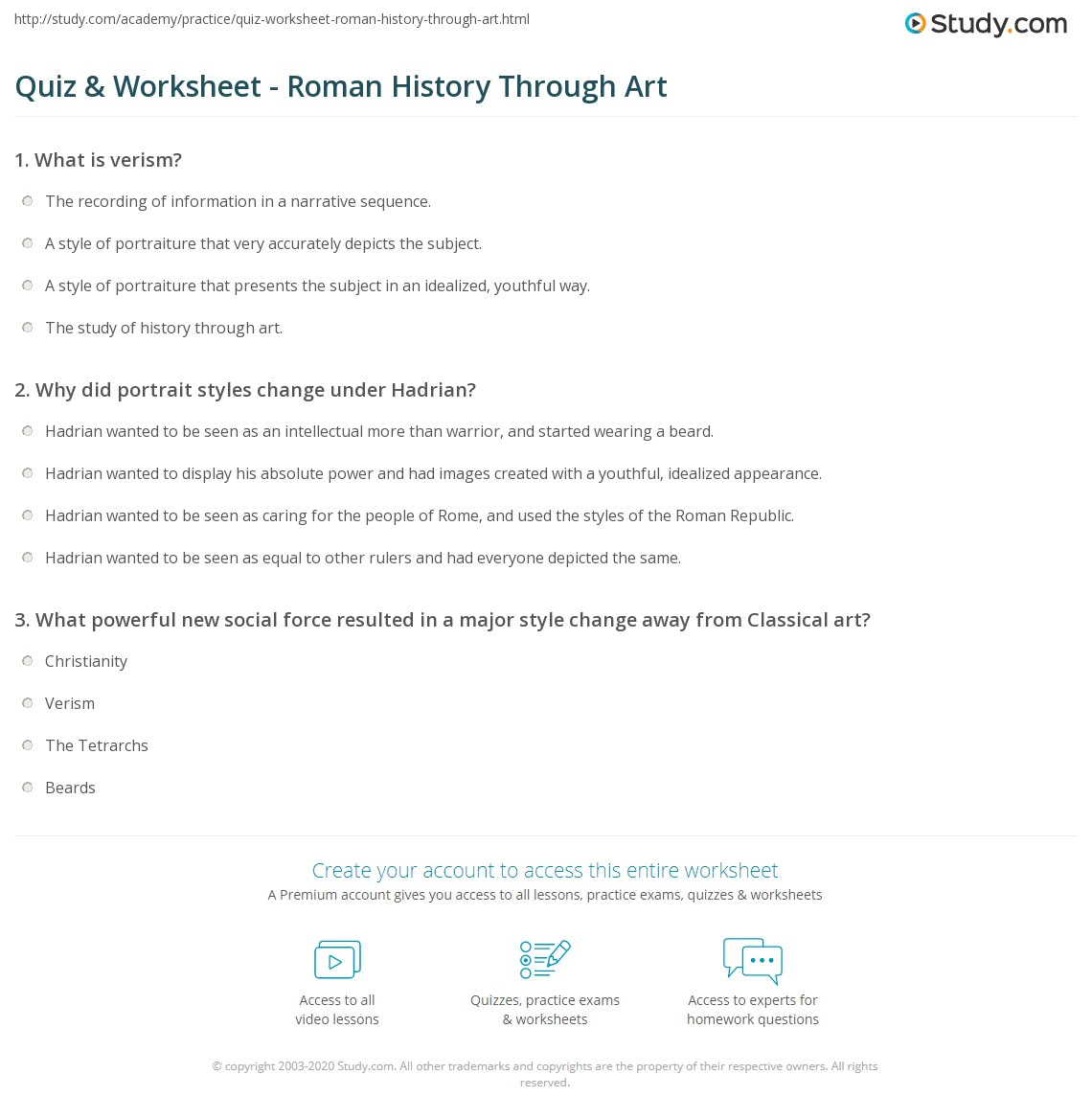 Answers To Art History Questions