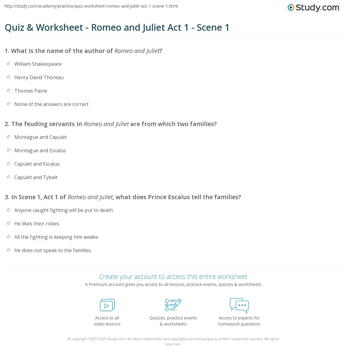 Romeo And Juliet Act 1 Reading And Study Guide Ninth