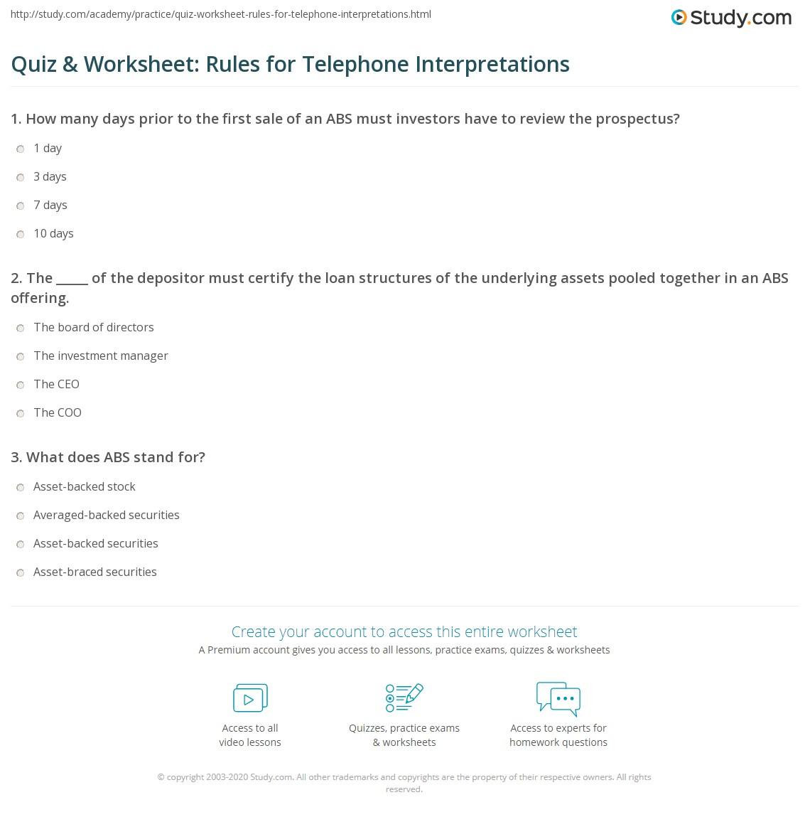 Quiz Amp Worksheet Rules For Telephone Interpretations