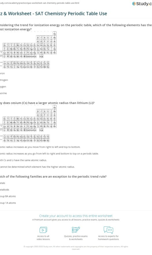 periodic table trends worksheet answer key   Periodic & Diagrams ...