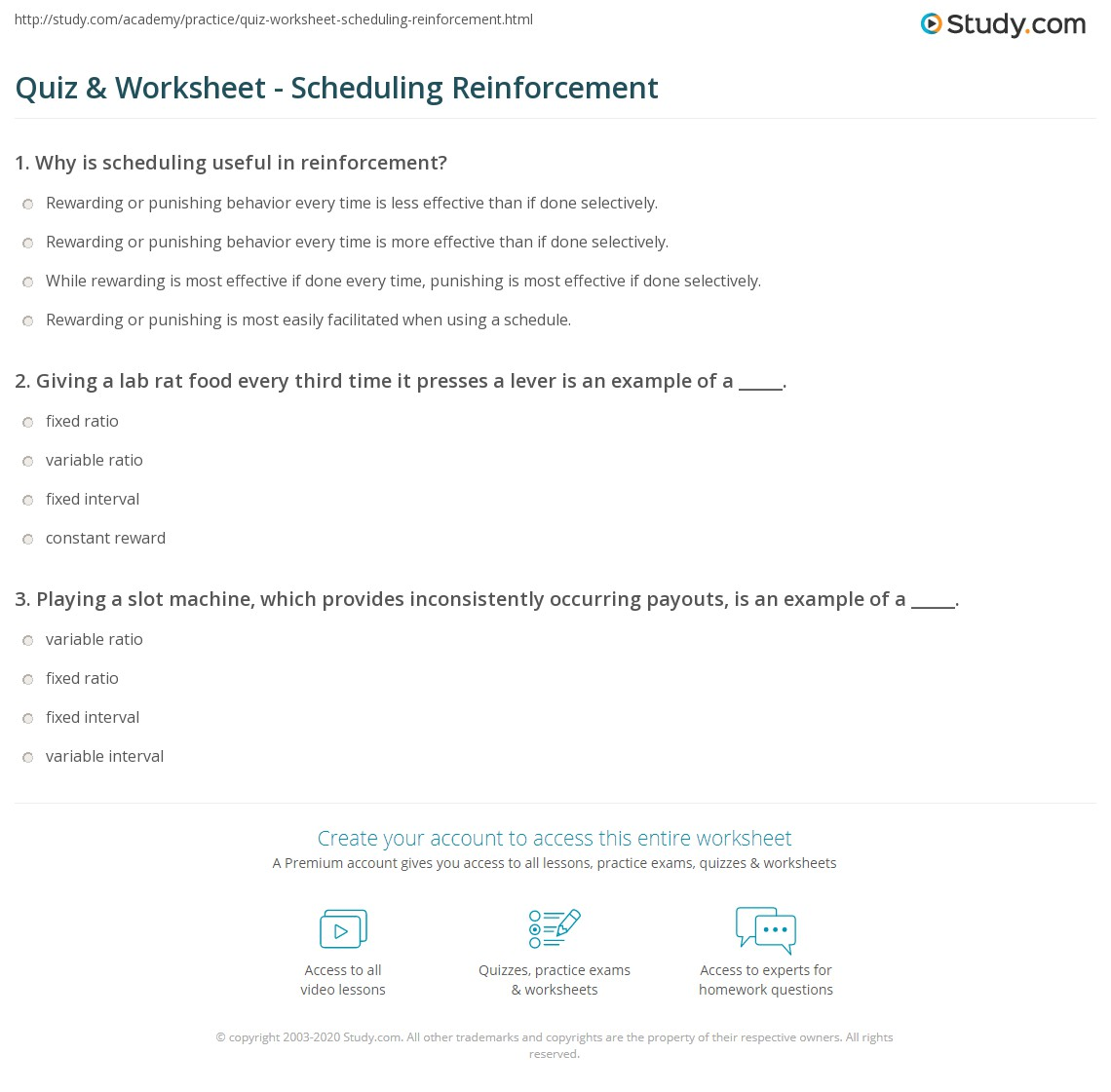 Printables Schedules Of Reinforcement Worksheet