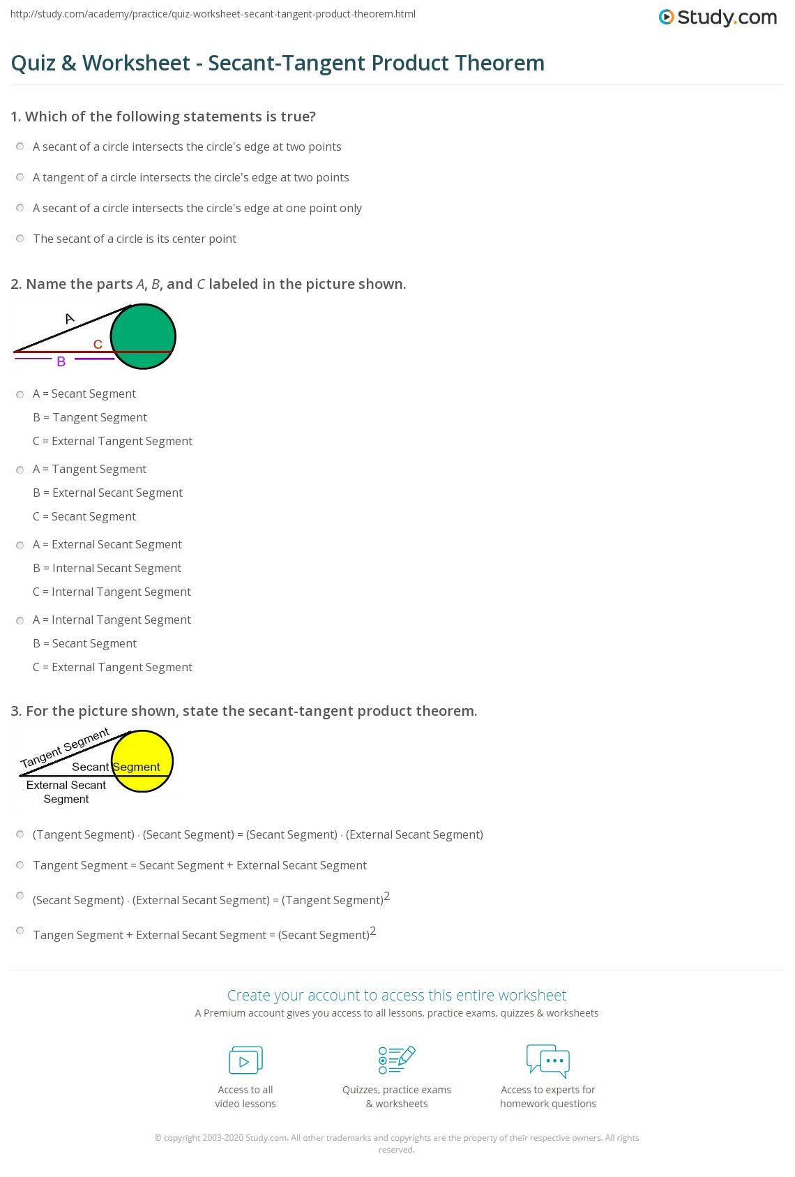 Circle Theorems Worksheet