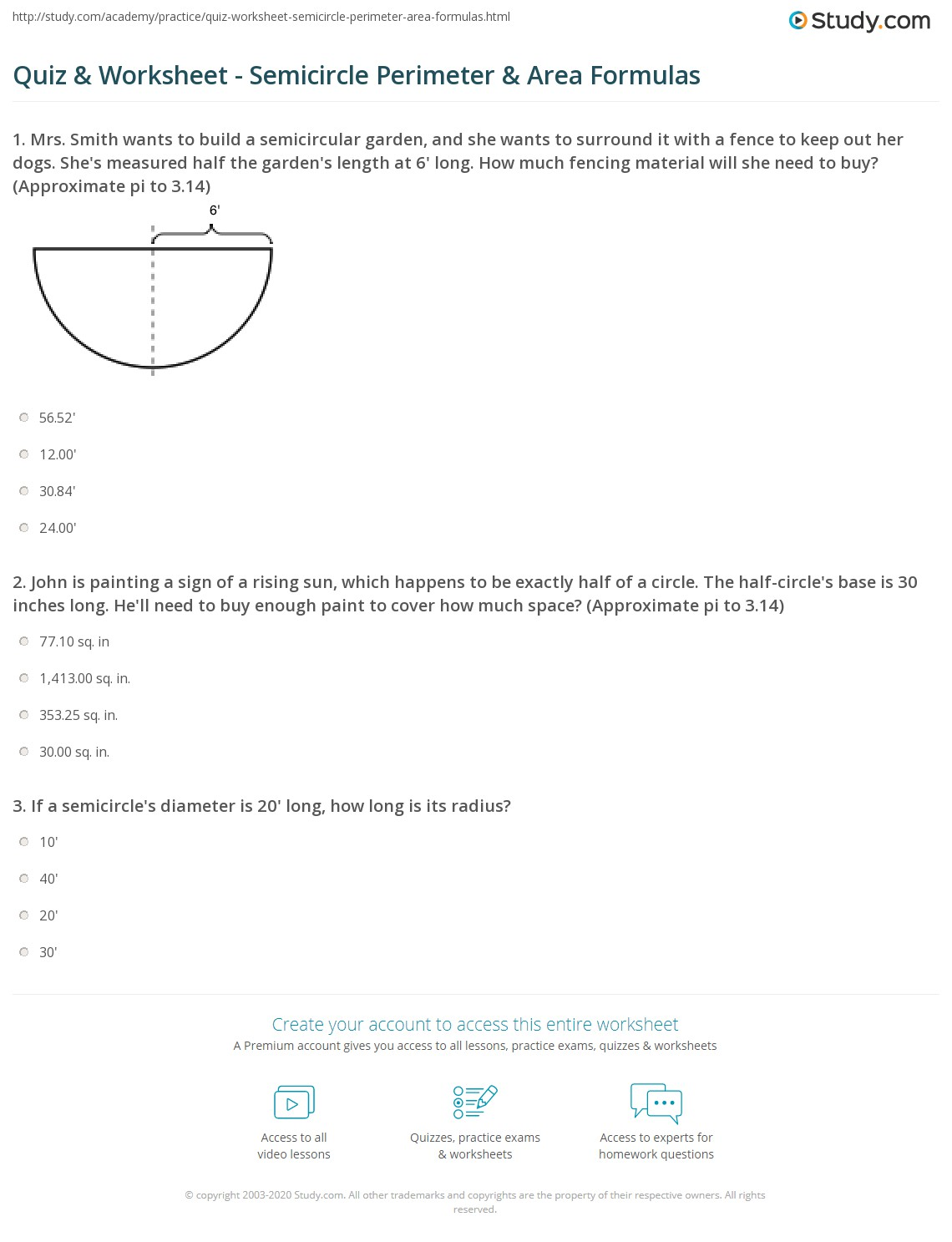 Worksheet Circumference And Area Of A Circle Worksheet