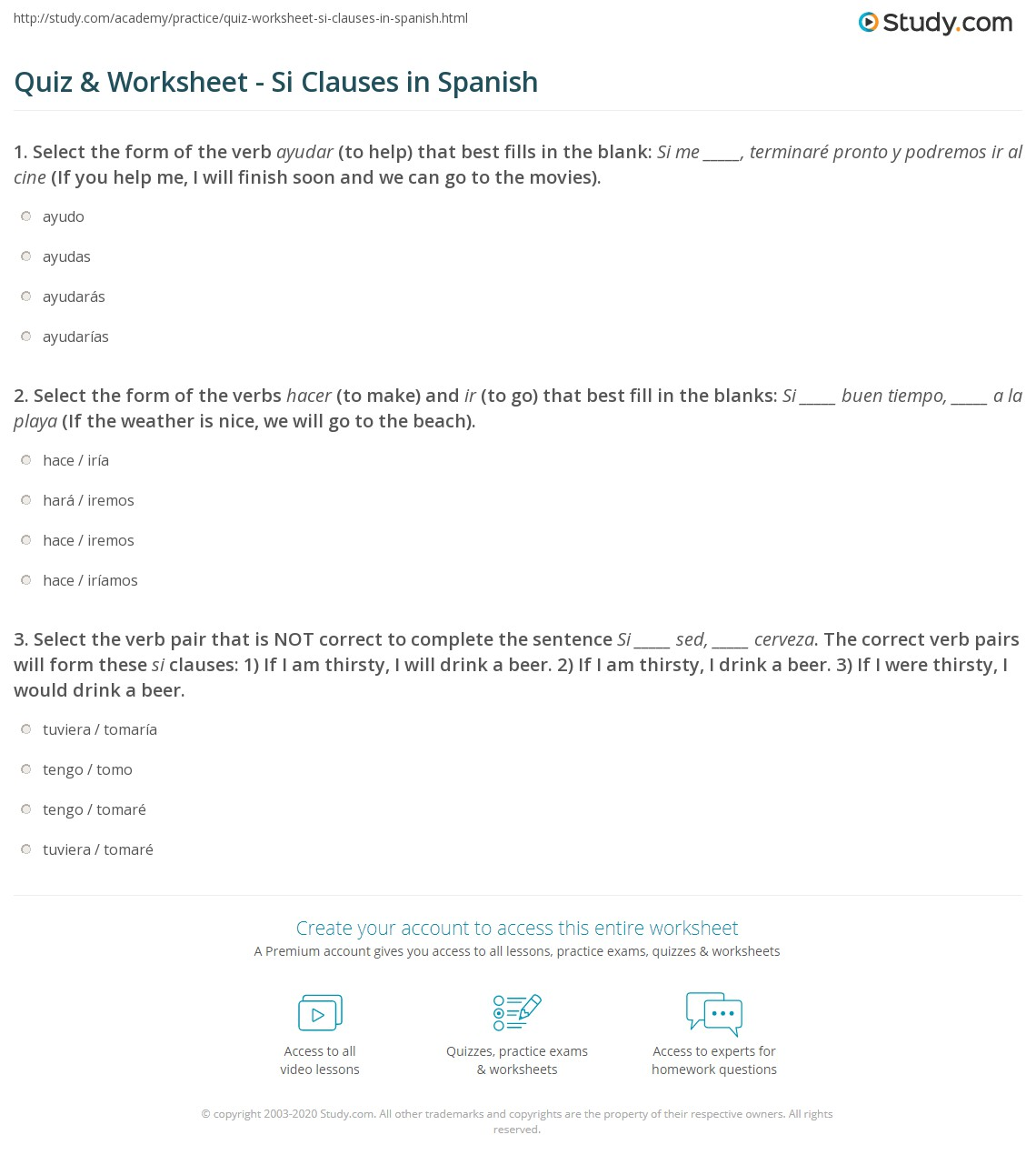 Si Clauses Spanish Practice Worksheet