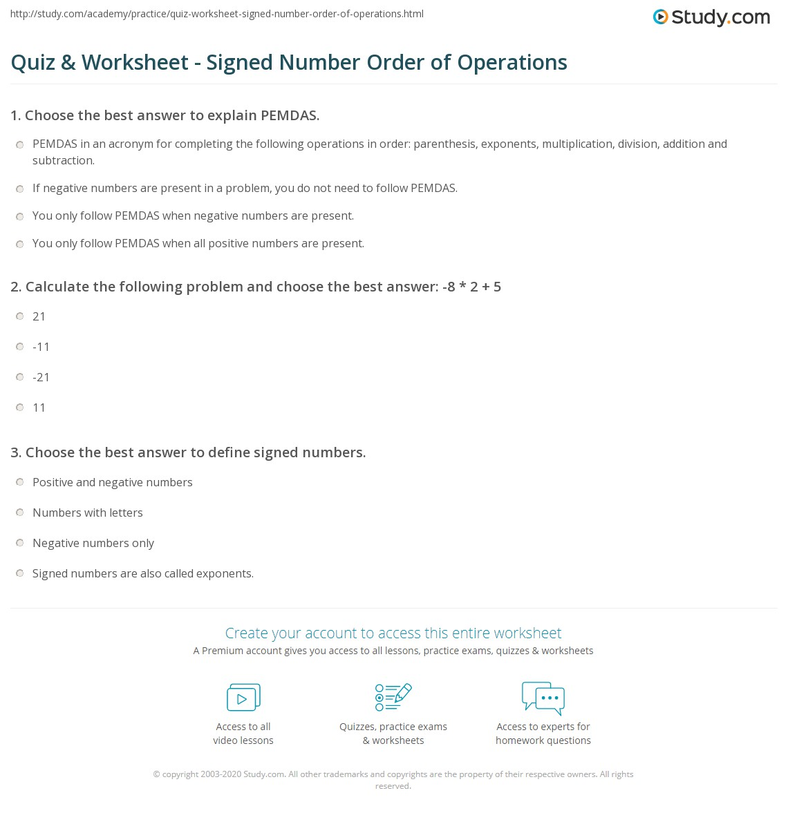 Worksheet Adding Signed Numbers