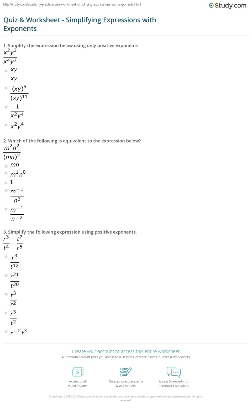 Quiz Worksheet Simplifying Expressions With Exponents
