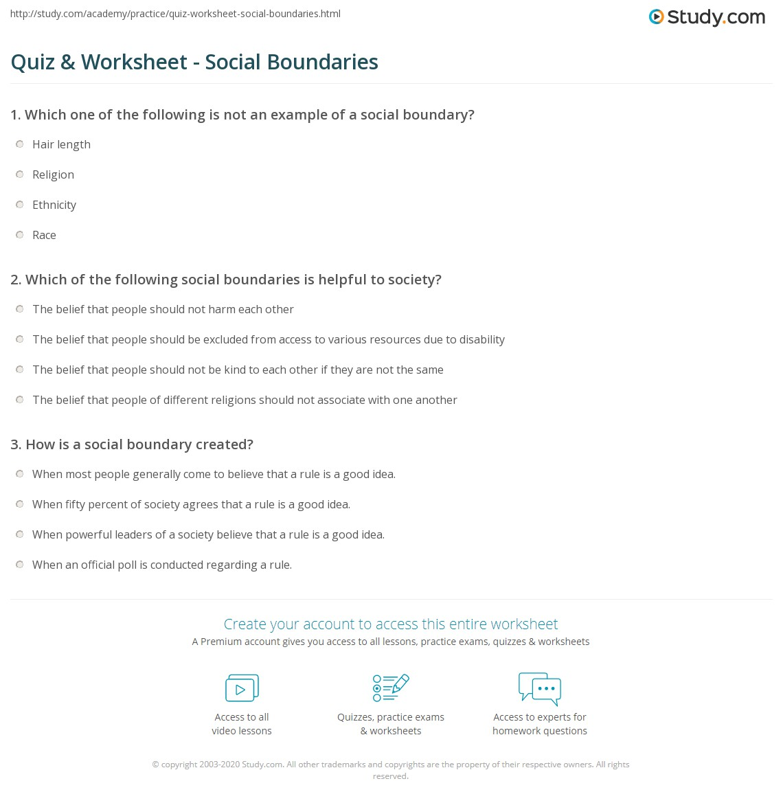 Social Boundaries Worksheets