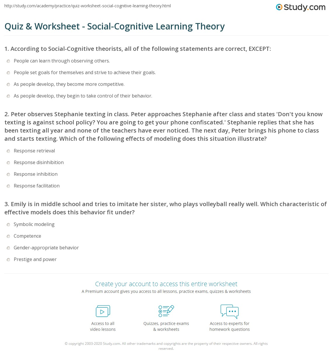 Cognitive Psychology Worksheets