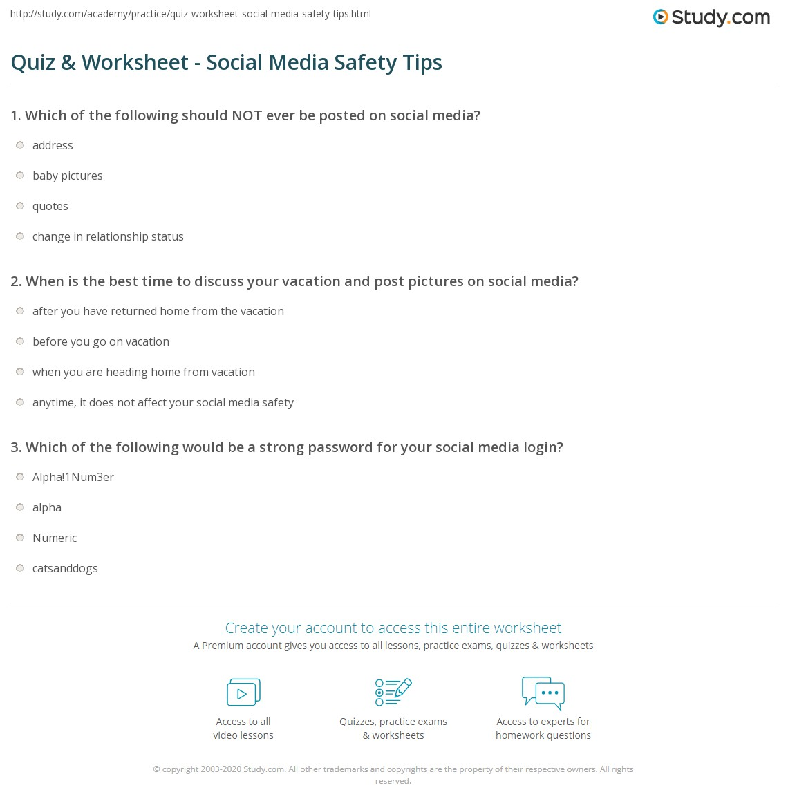 Home Safety Worksheets