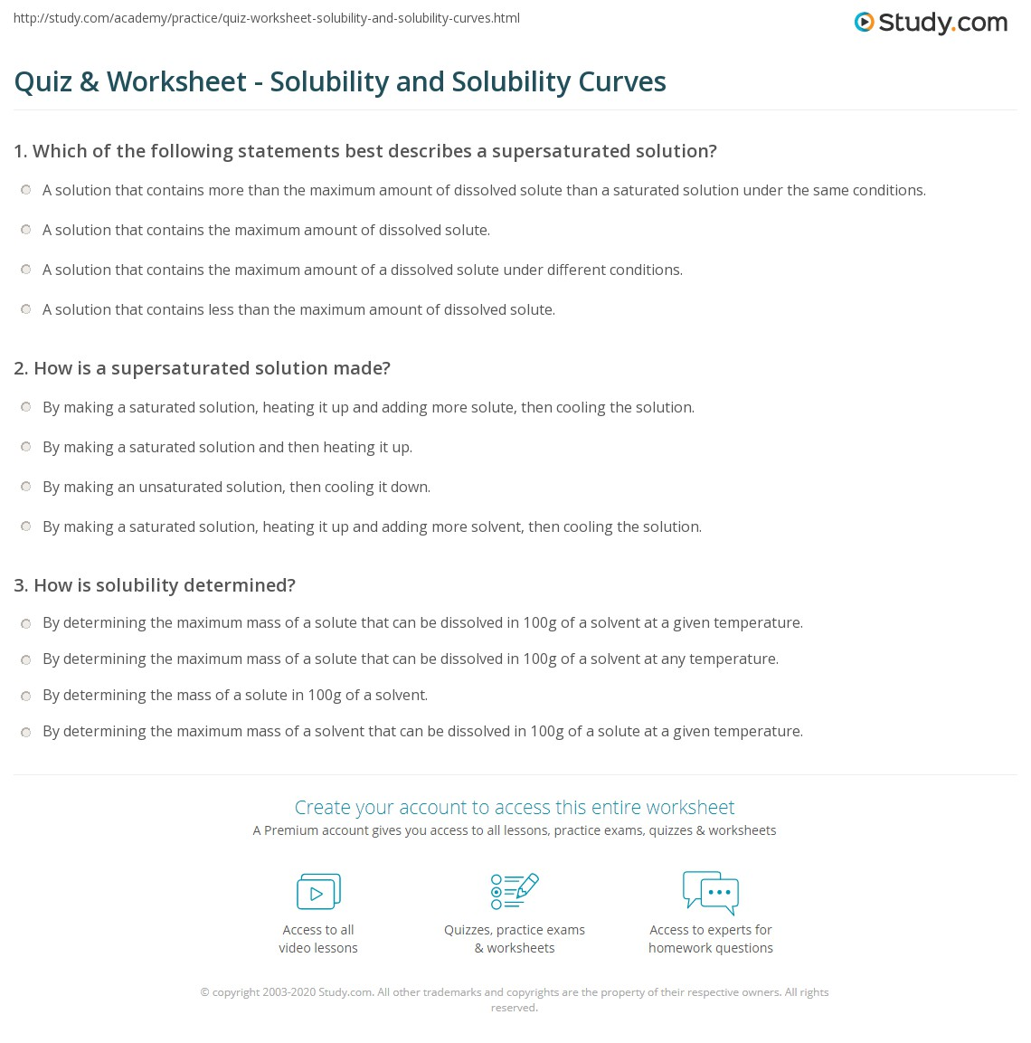 Printables Of Solubility Quiz Worksheet