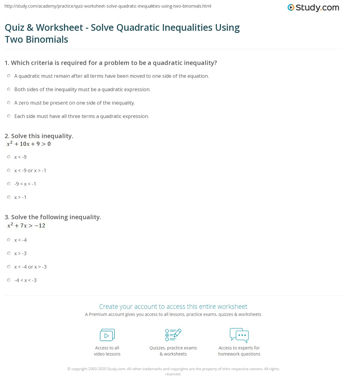 Problem Solving With Quadratics Solving Quadratic