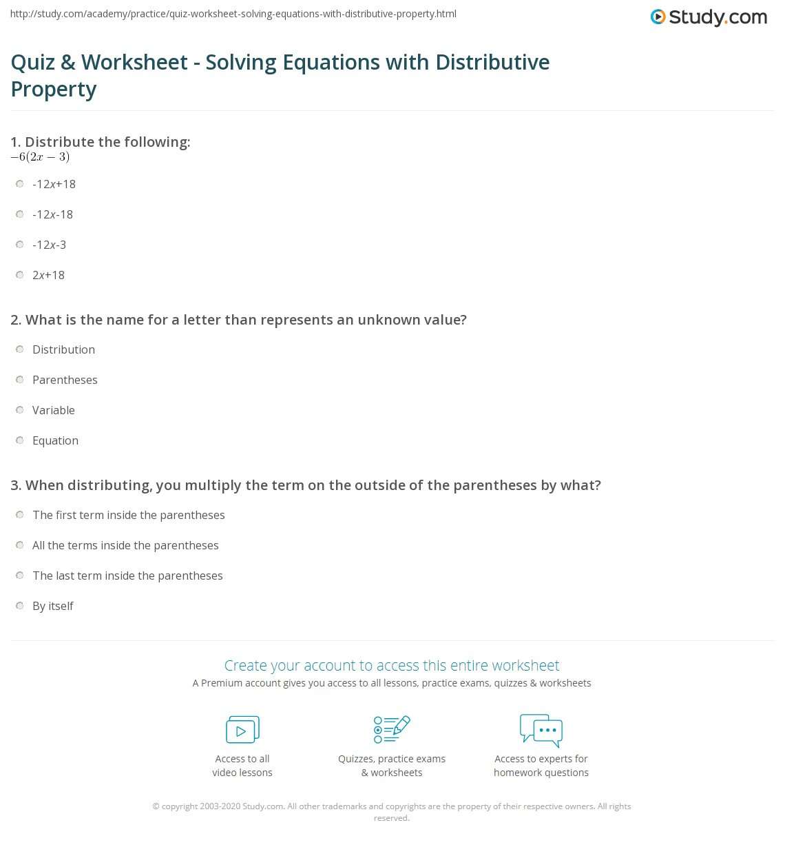 Worksheet Solving Equations With Distributive Property