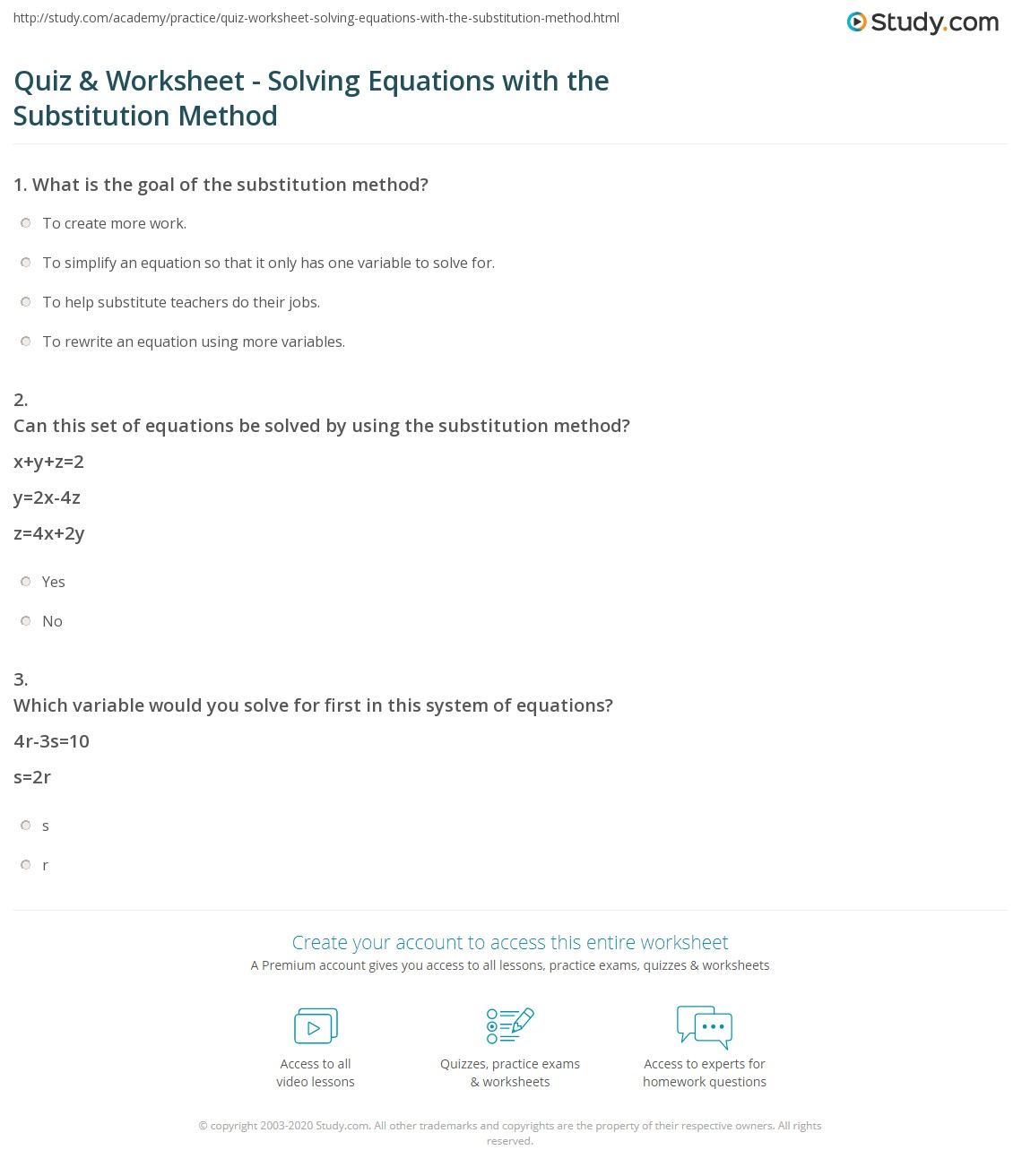 34 Substitution Method Worksheet Answer Key
