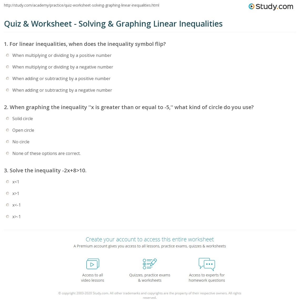 Solving And Graphing Linear Inequalities Worksheet