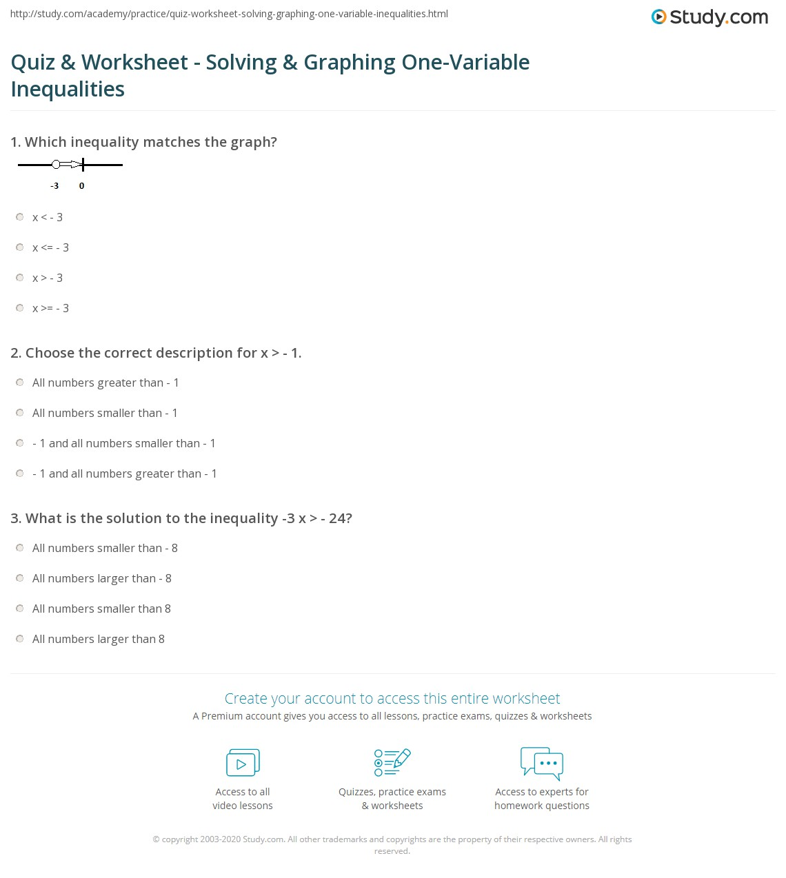 30 One Variable Inequalities Word Problems Worksheet