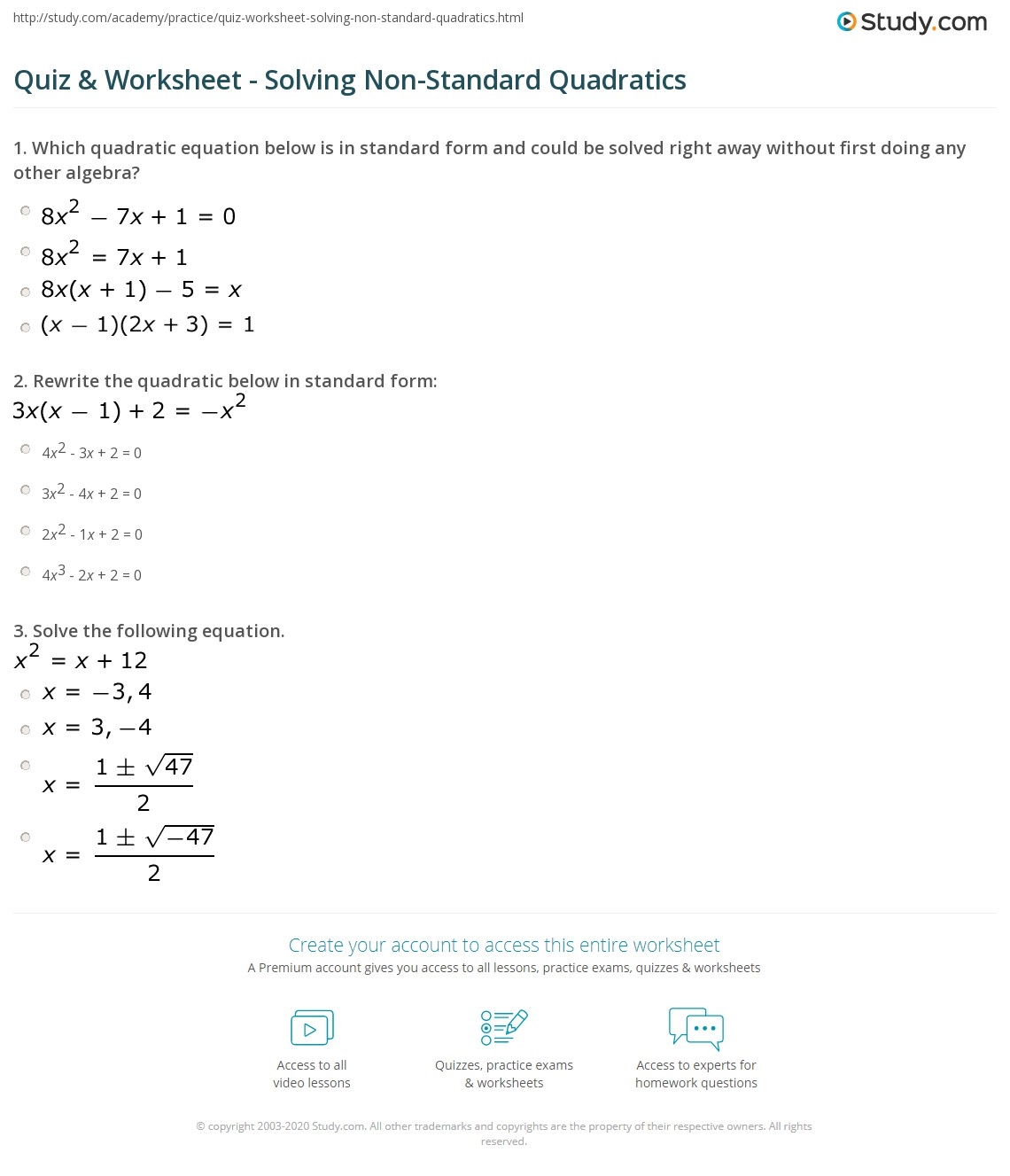 Solving Quadratic Equations Worksheet Answers