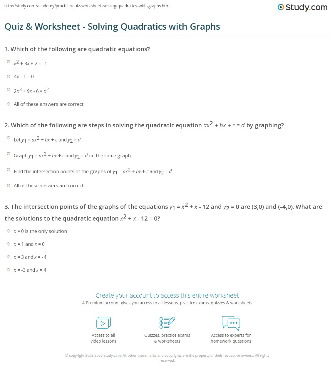 32 Solving Quadratic Equations By Graphing Worksheet