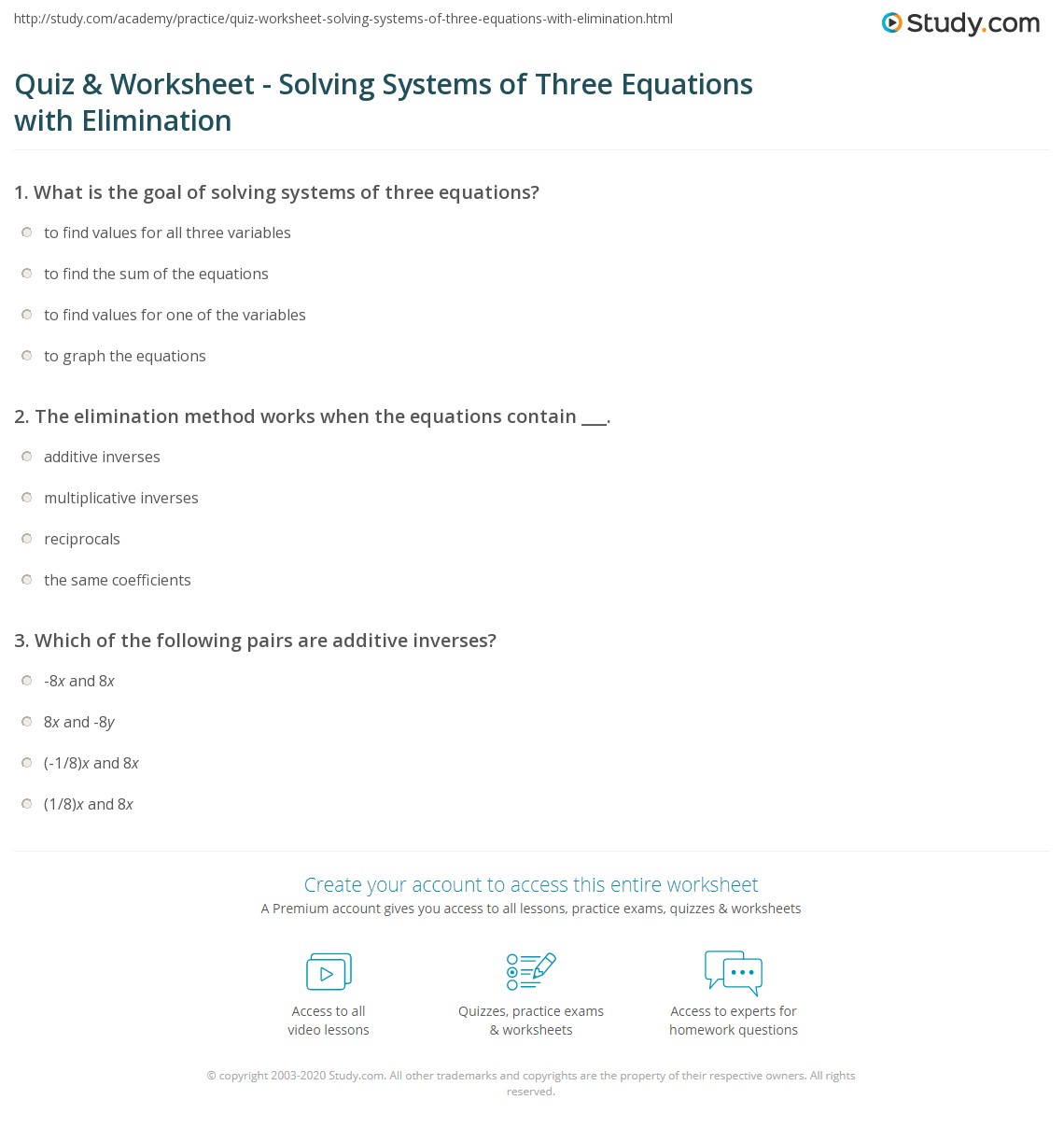 How To Solve Systems Of Three Equations Using Elimination
