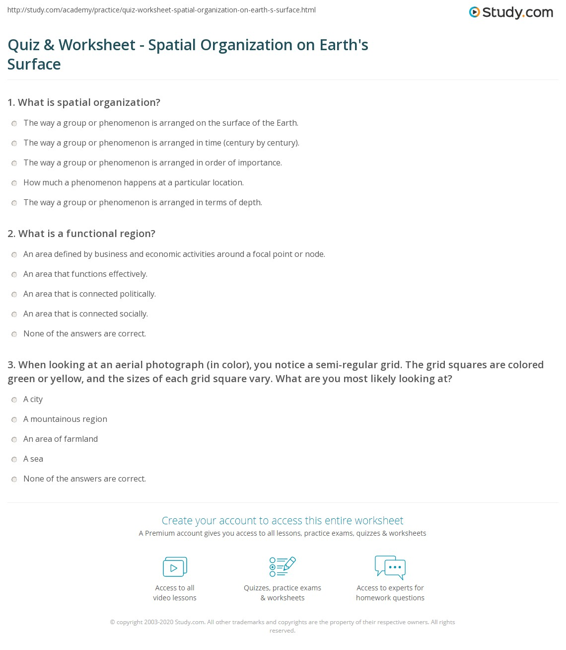 Spatial Questions Worksheet