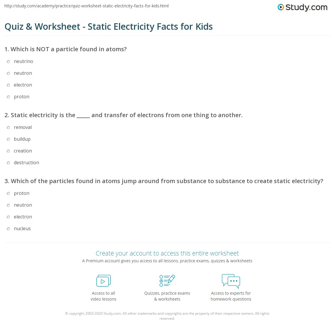 Static Electricity For Kids Worksheets
