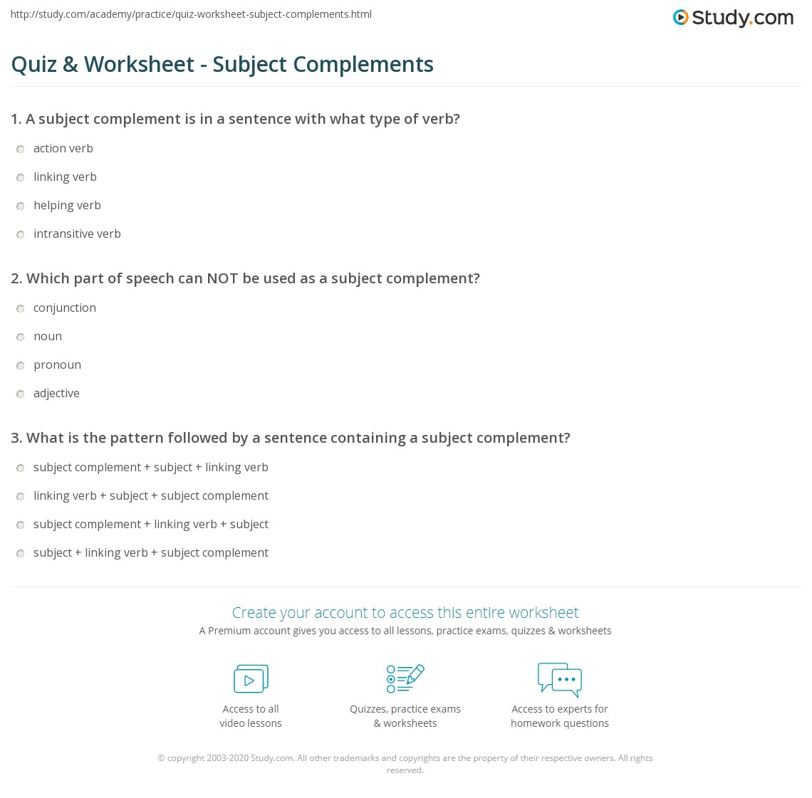 Subject Complement Worksheets