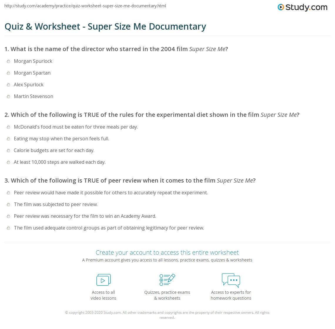 Super Size Me Review Worksheet