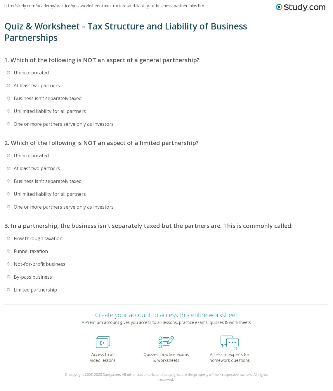 Partnership Business Tax Worksheet