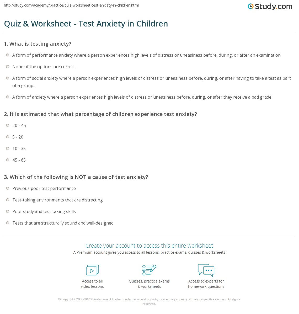 Anxiety Anxiety Worksheets For Kids