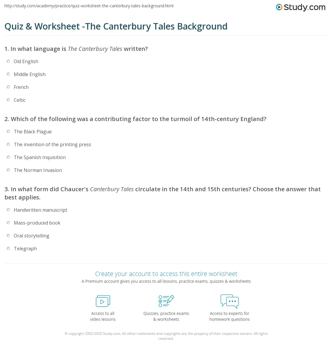 Quiz Amp Worksheet The Canterbury Tales Background