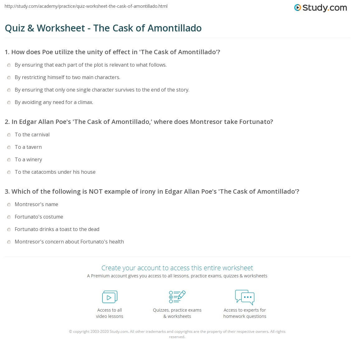The Cask Of Amontillado Essay Questions The Cask Of