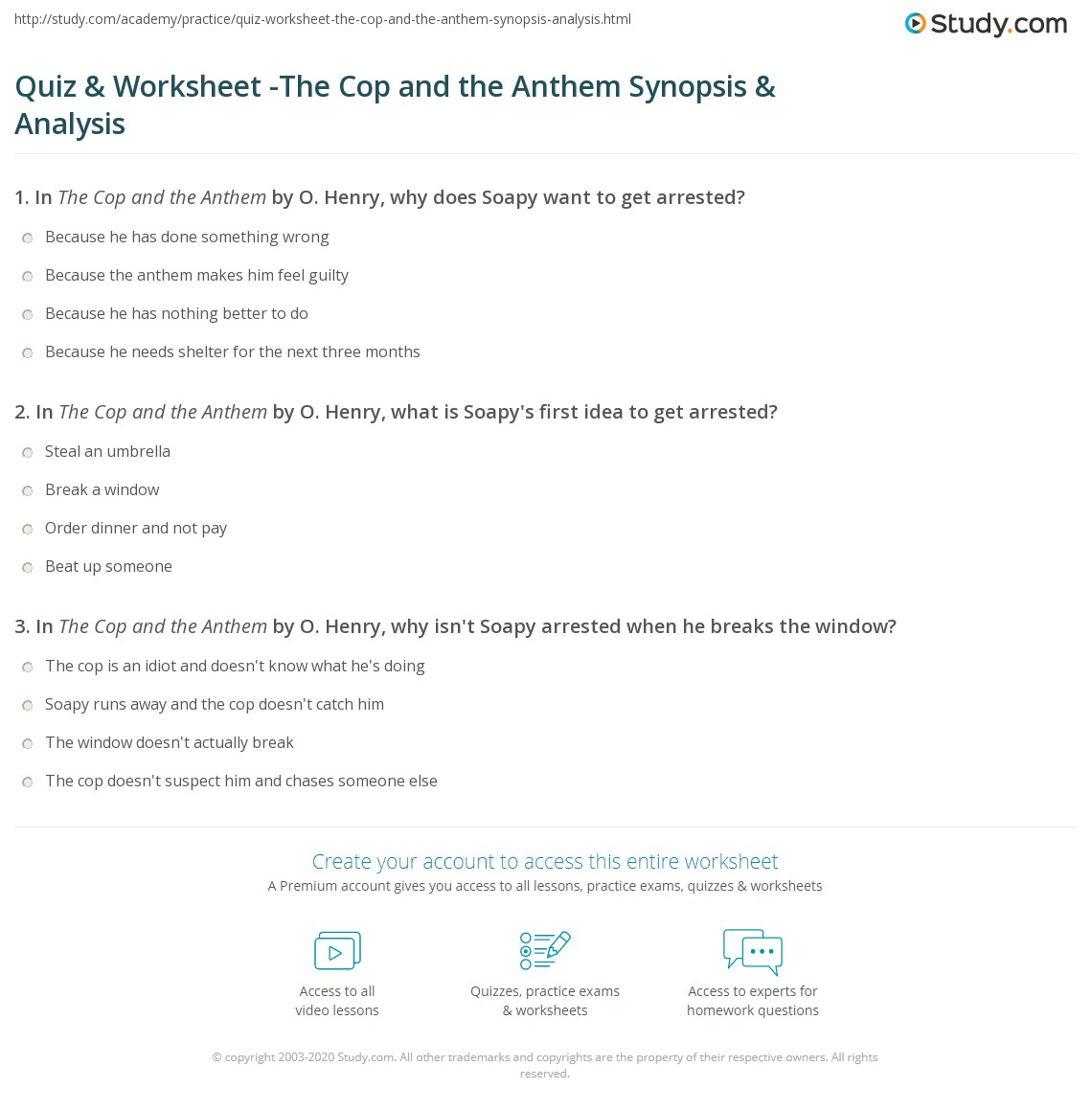 Quiz Amp Worksheet The Cop And The Anthem Synopsis