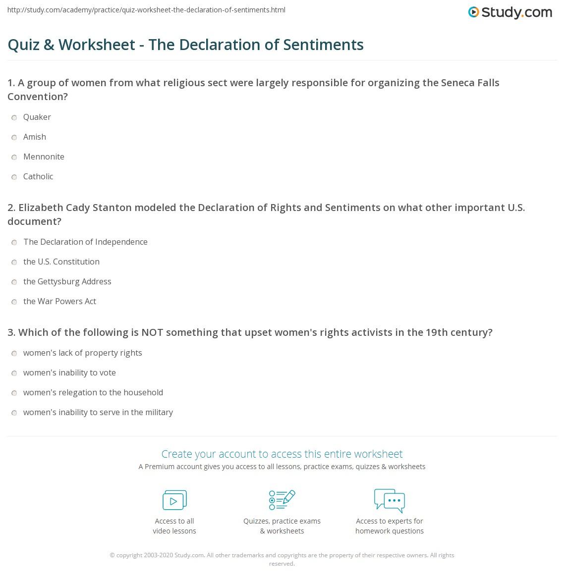 Declaration Of Independence Worksheet High School