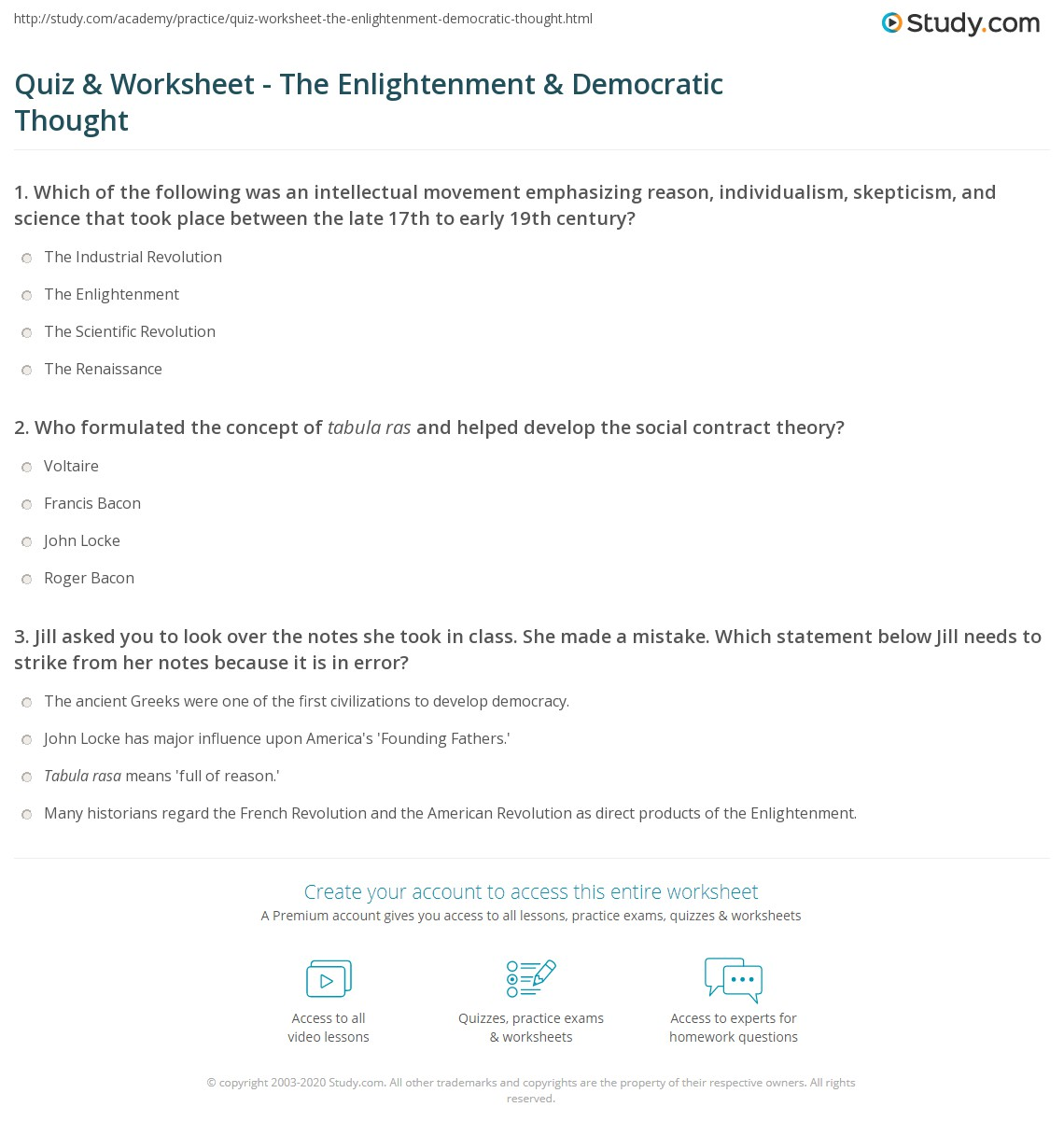 33 The Enlightenment Worksheet Answers