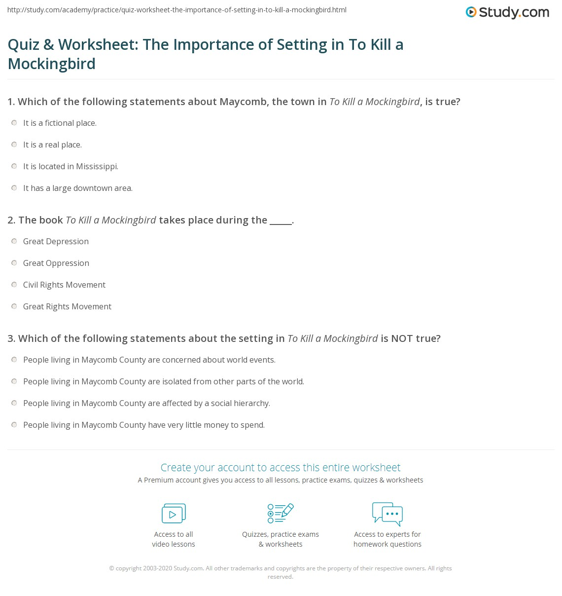 Quiz Amp Worksheet The Importance Of Setting In To Kill A