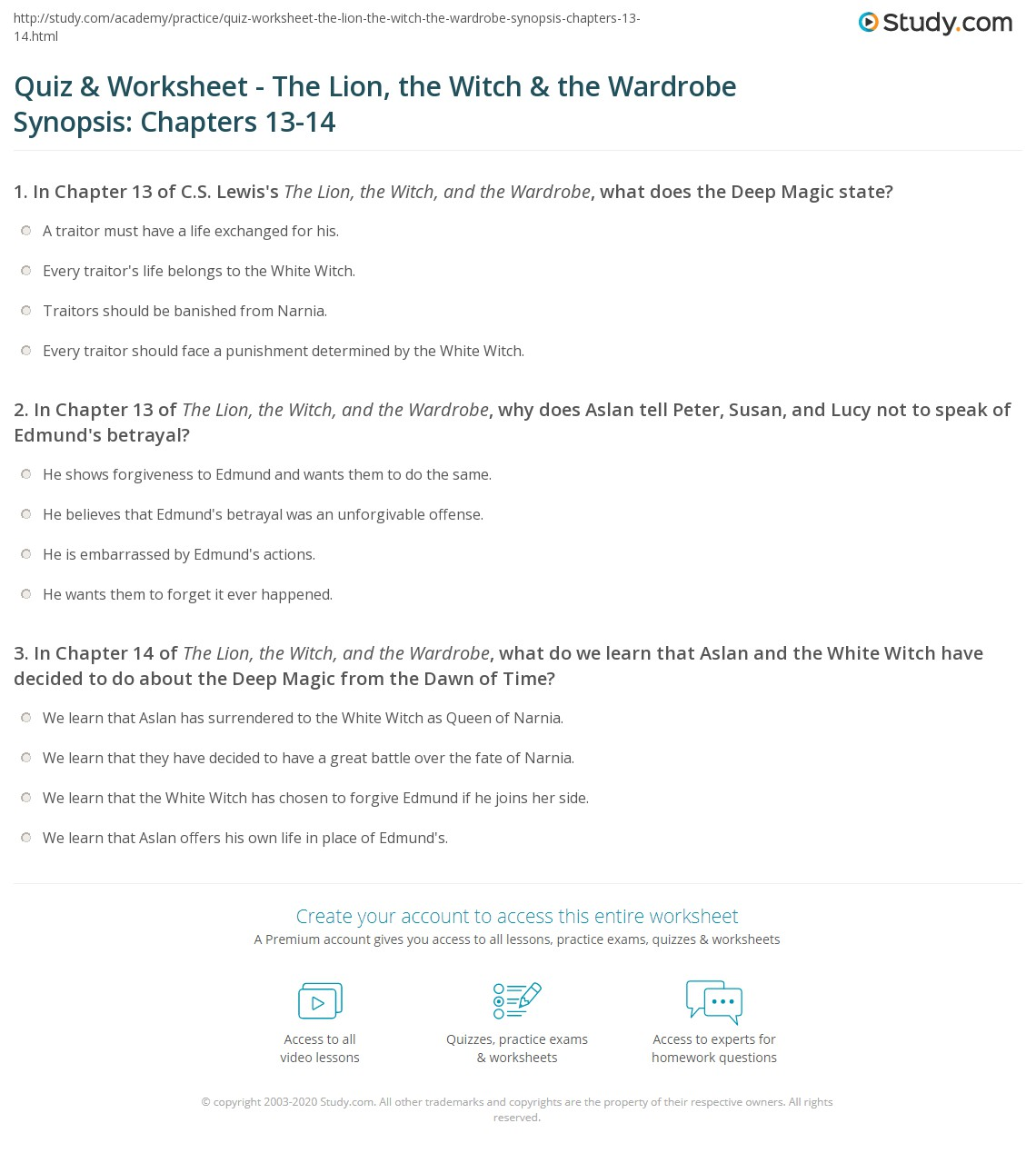 Quiz Worksheet The Lion The Witch The Wardrobe Synopsis