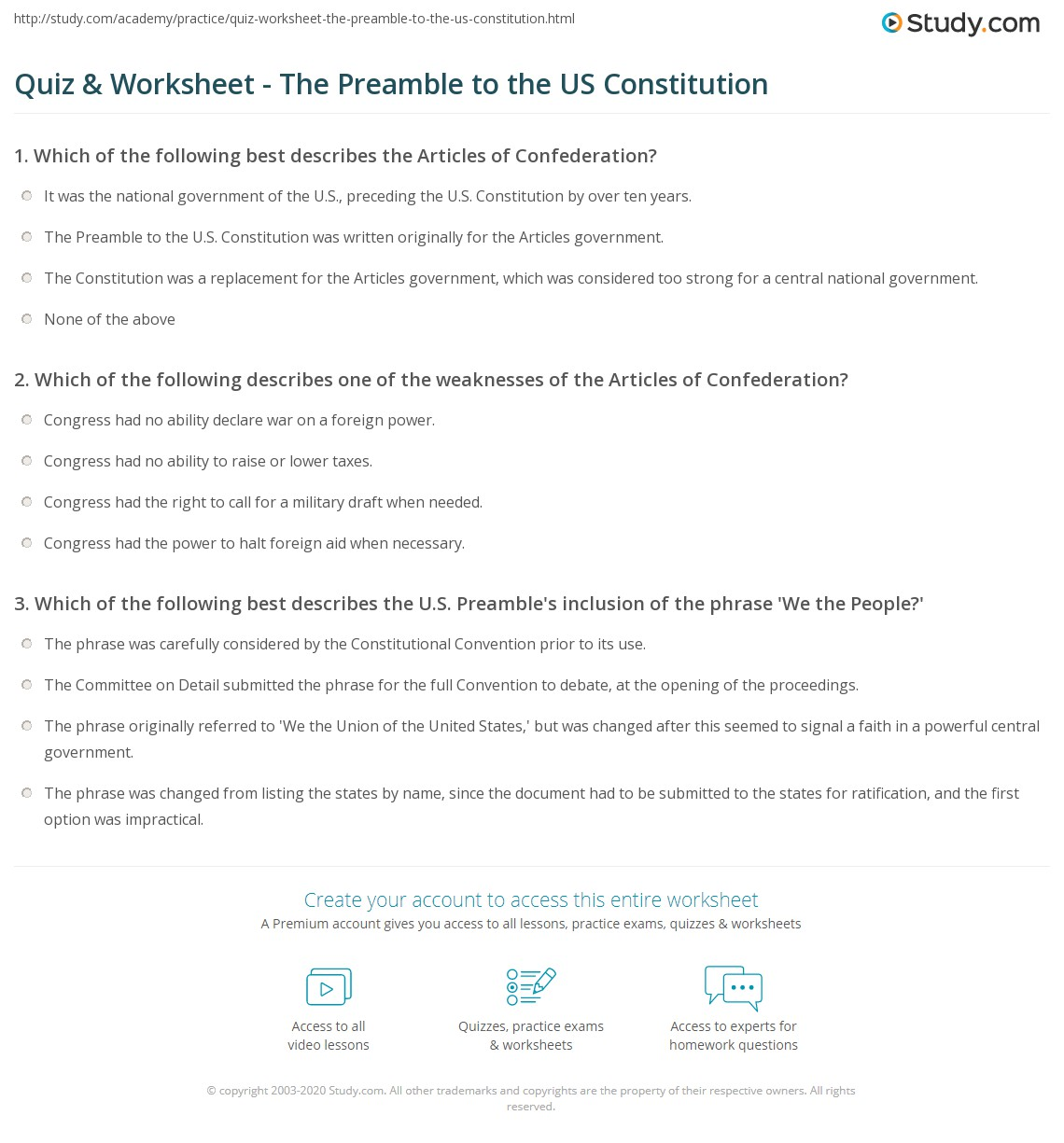 Us Constitution Article 3 Worksheet