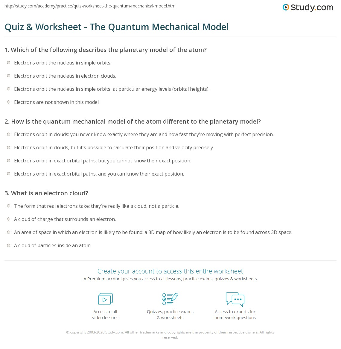 Models Of The Atom Worksheet Answers
