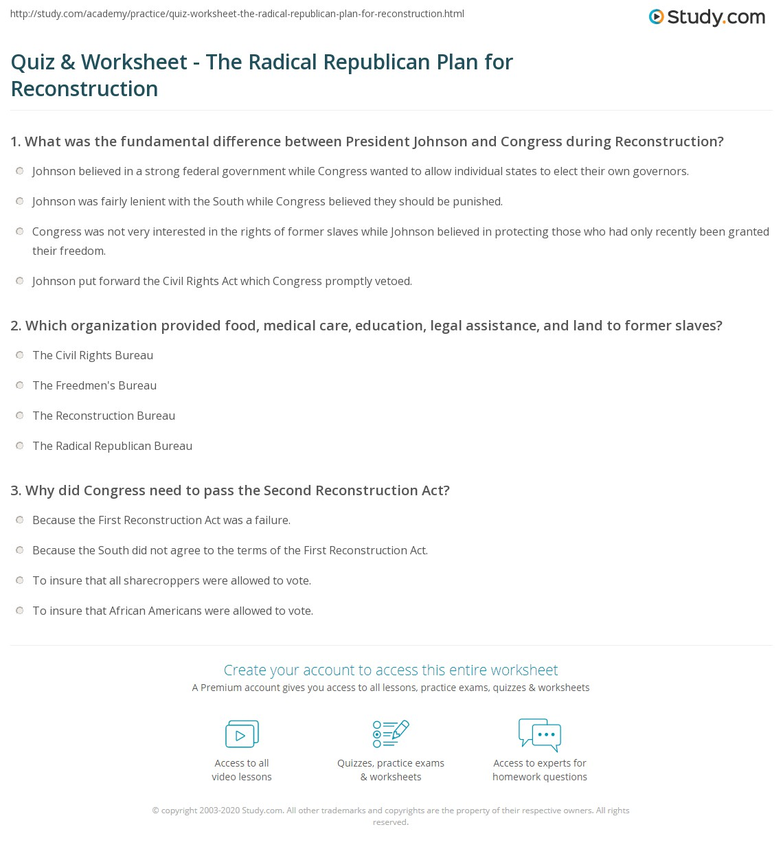 Printables Of Presidential Reconstruction Worksheet Answers