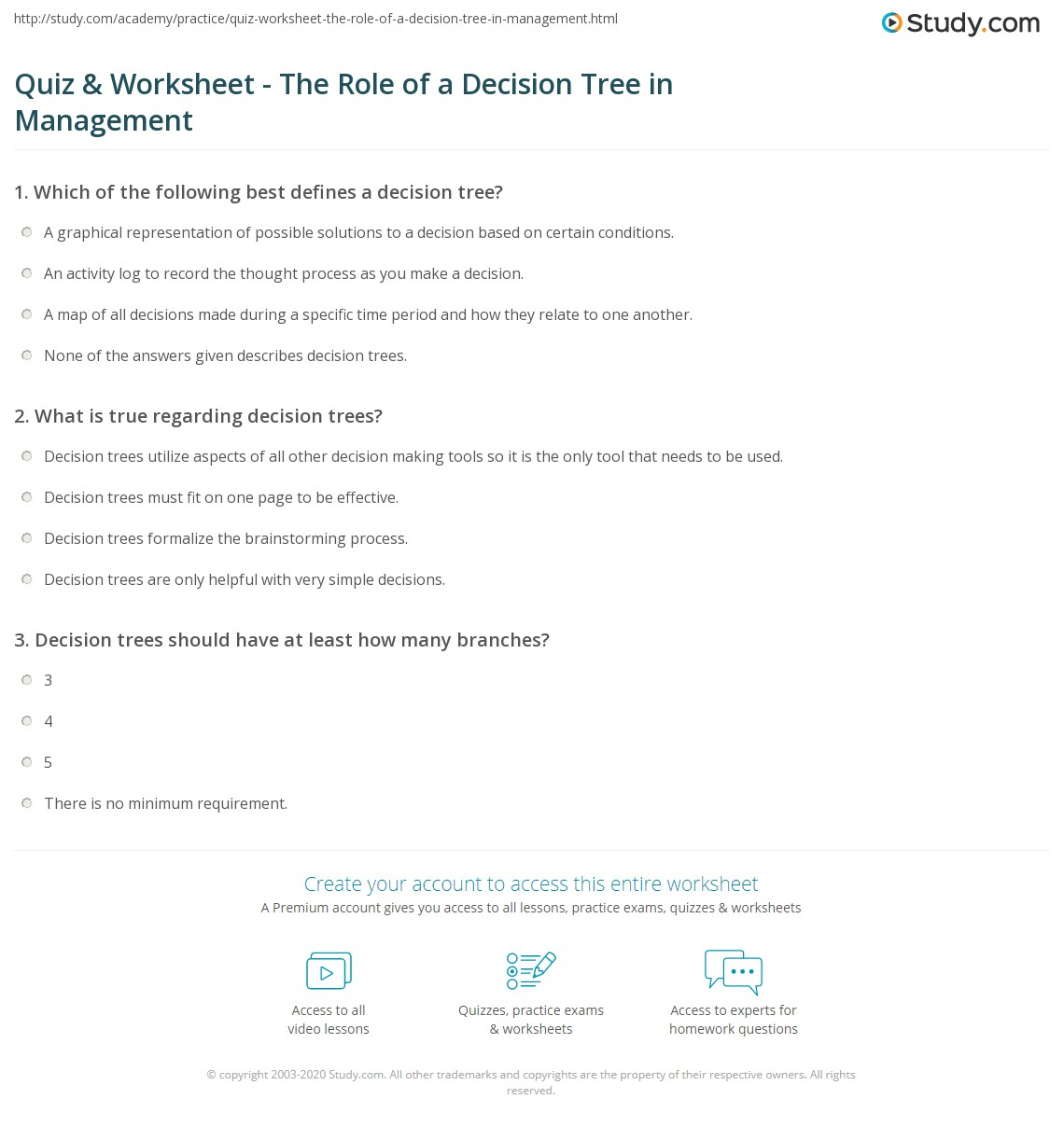 Worry Decision Tree Psychology Tools T Decision Tree