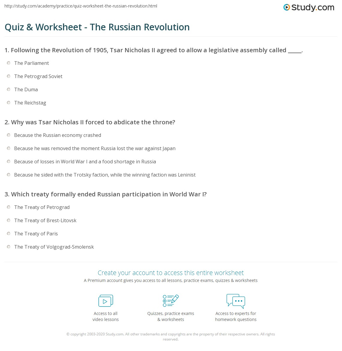 Worksheet Russian