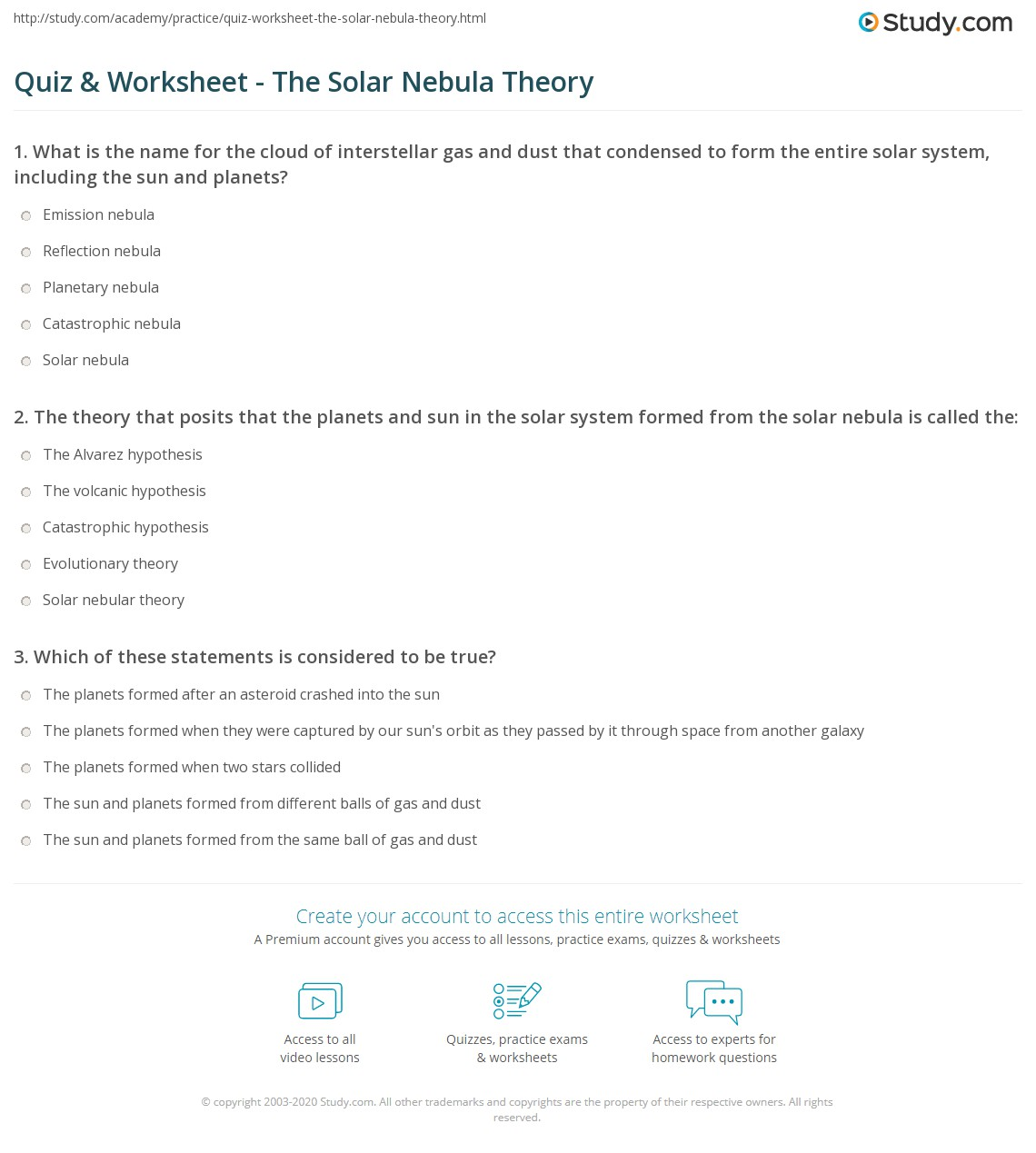 31 Formation Of The Solar System Worksheet Answers