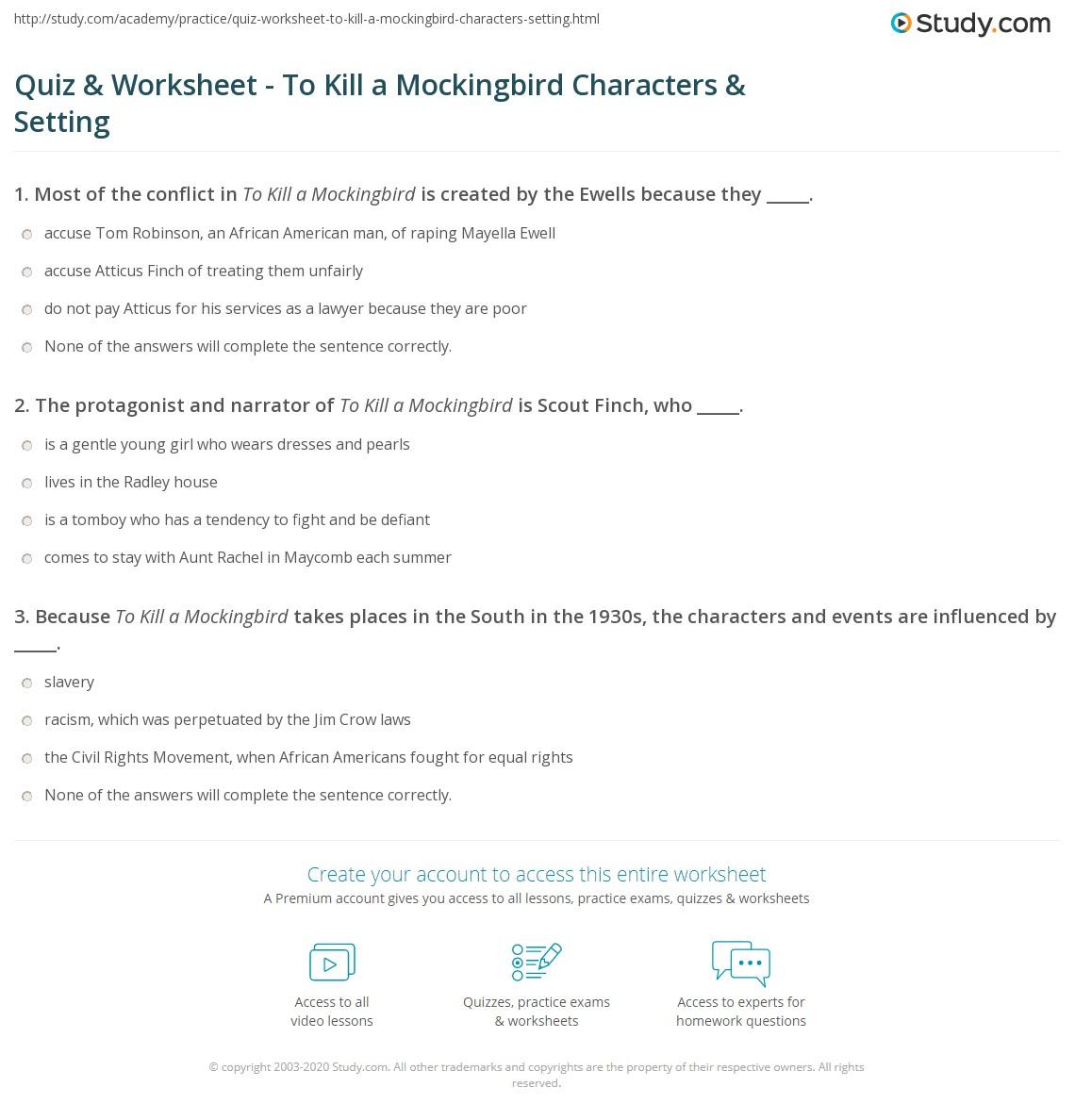 To Kill A Mockingbird Character Chart Worksheet Answers