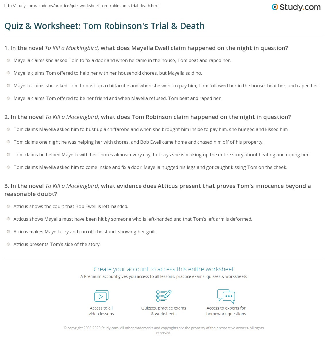 Quiz Amp Worksheet Tom Robinson S Trial Amp