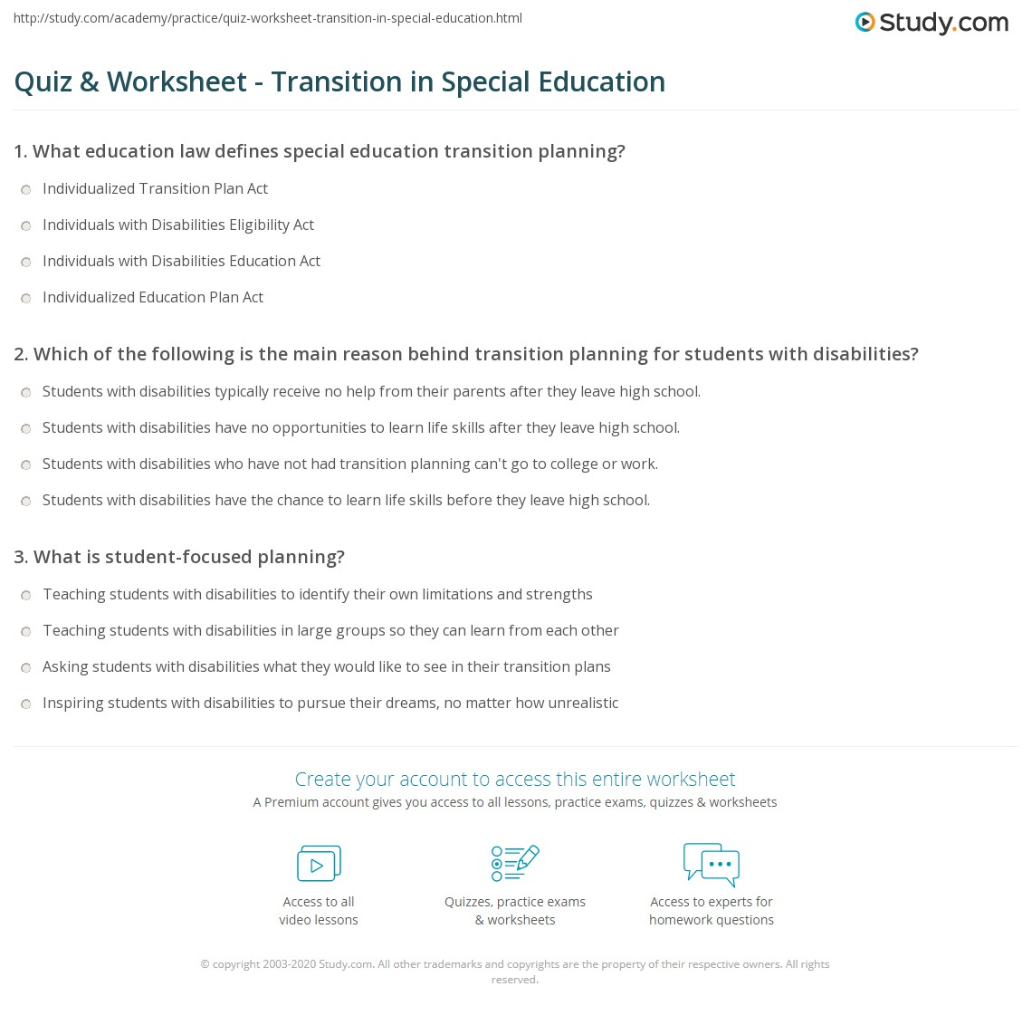 Special School Worksheet
