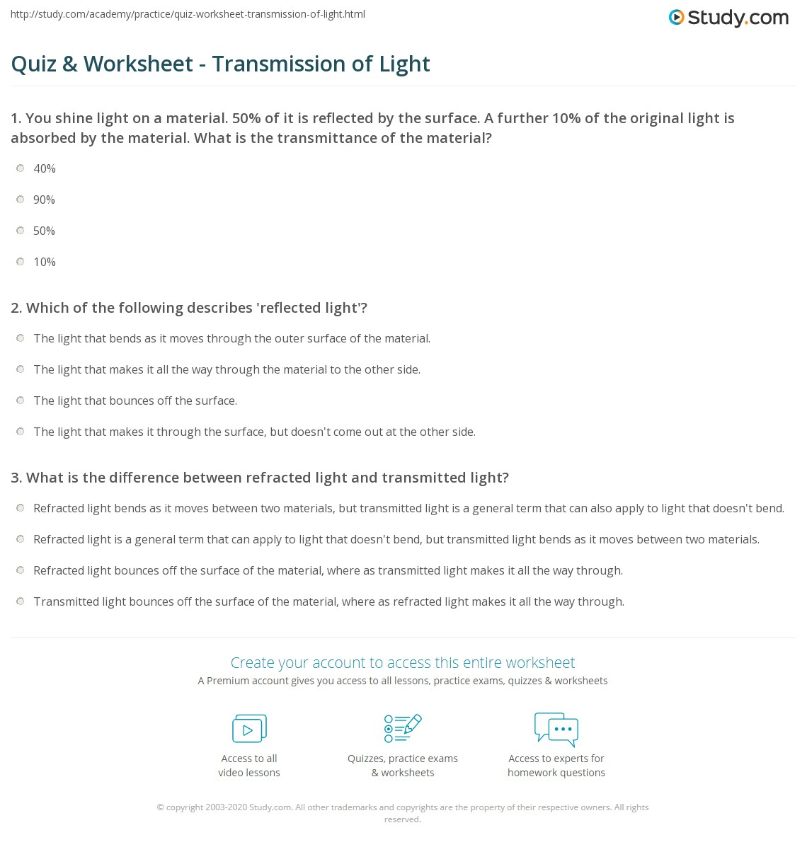 Worksheet Properties Of Light Worksheet Grass Fedjp