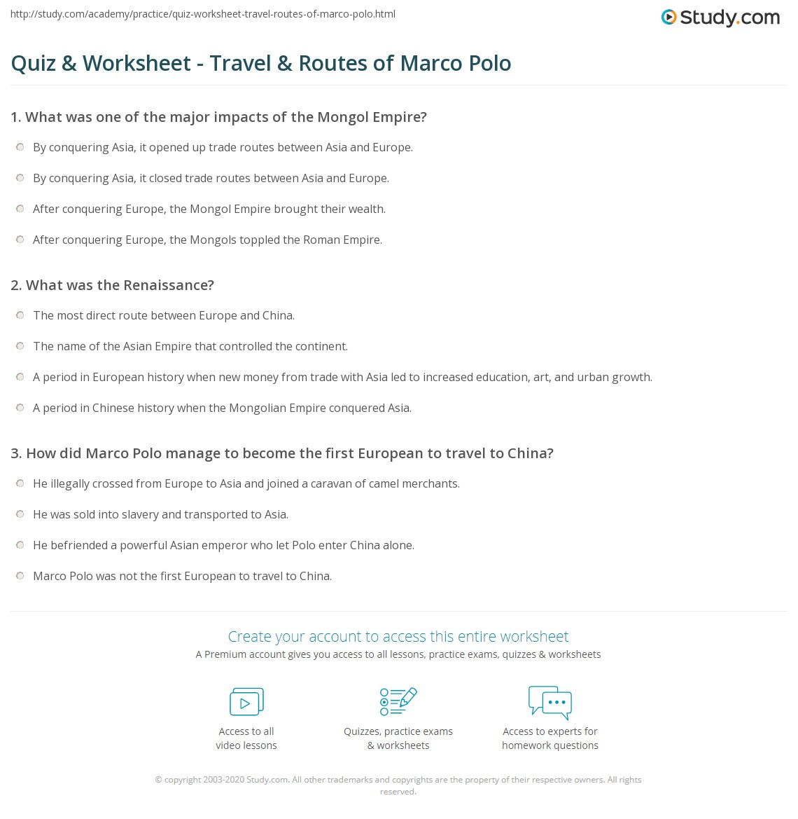 Marco Polo Lesson Plans Worksheet